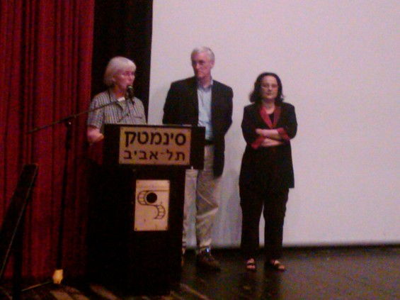 Cindy & Craig Corrie answer questions after a screening of Rachel in Tel Aviv. (March 12, 2010)
