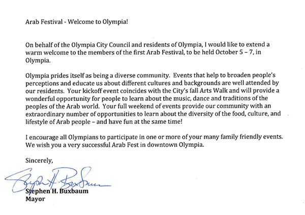 Mayor Buxbaum Welcomes Olympia Arab Fest