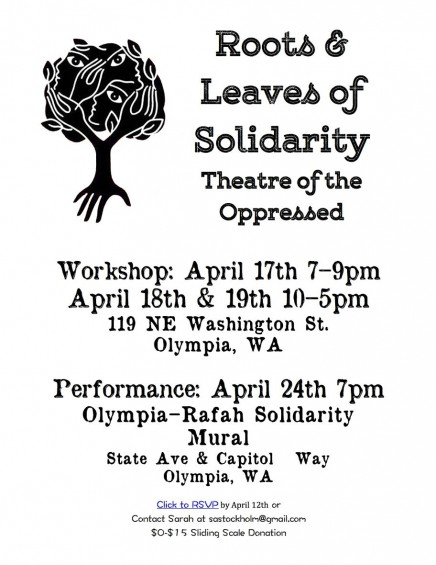 April 17-19, 24 Roots & Leaves of Solidarity: A Theatre of the Oppressed Workshop