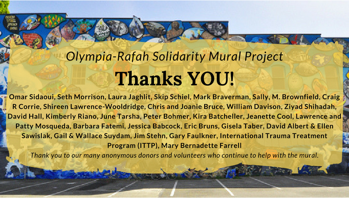 A tale of two cities olympia rafah solidarity mural for Thank you mural